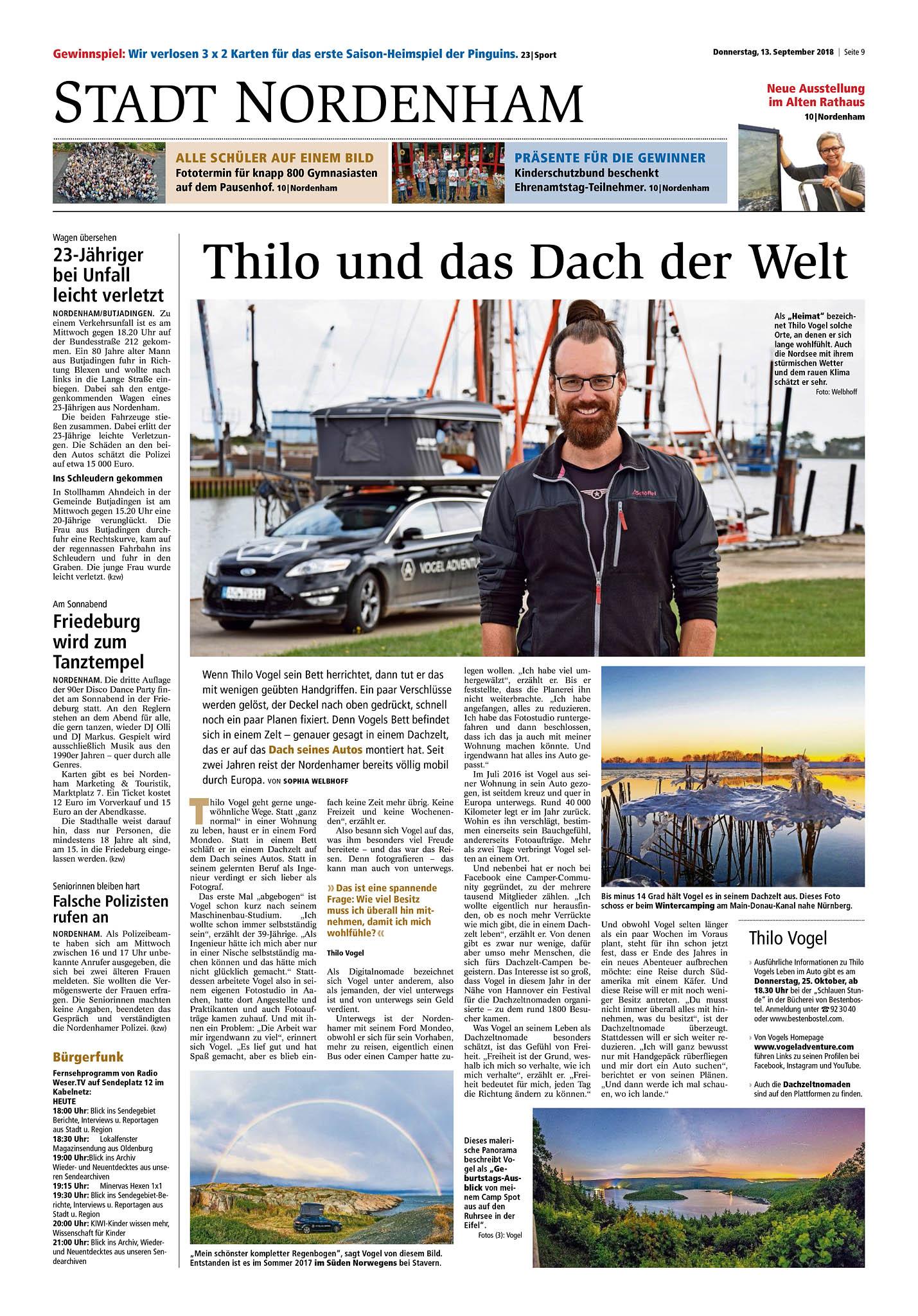 """""""Thilo und das Dach der Welt"""" - Der komplette Artikel der Kreiszeitung Wesermarsch vom 13.09.2018."""